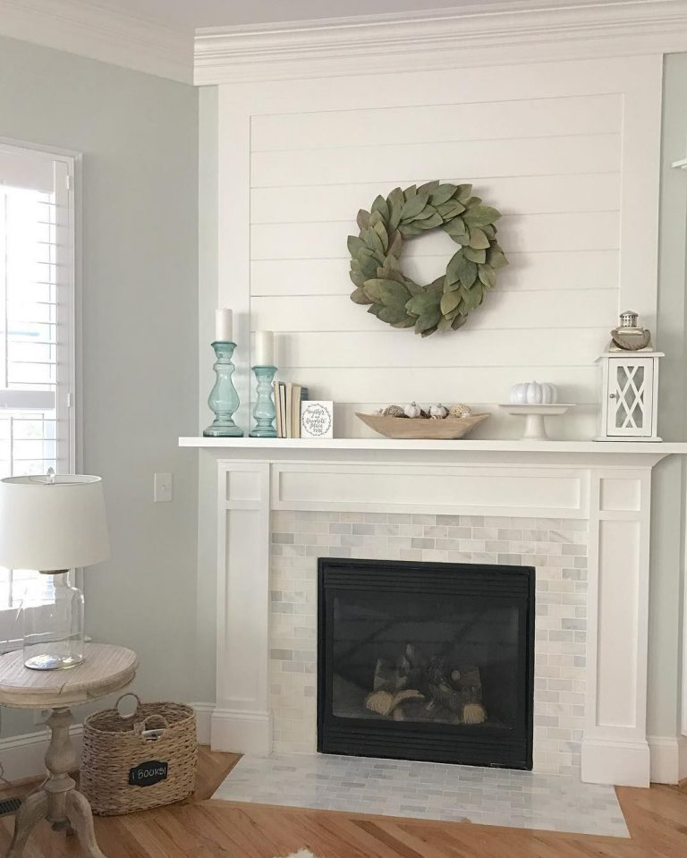 Charming Shiplap and Marble Fireplace Tile
