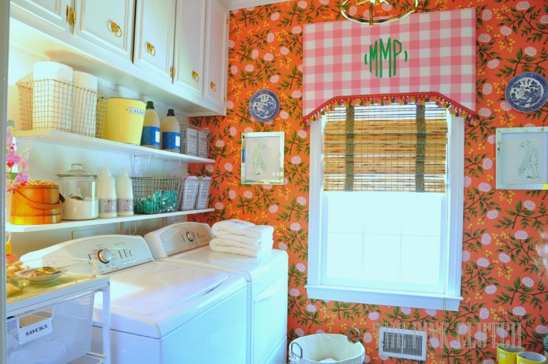 Shocking Pink Floral Laundry Room Paint Colors