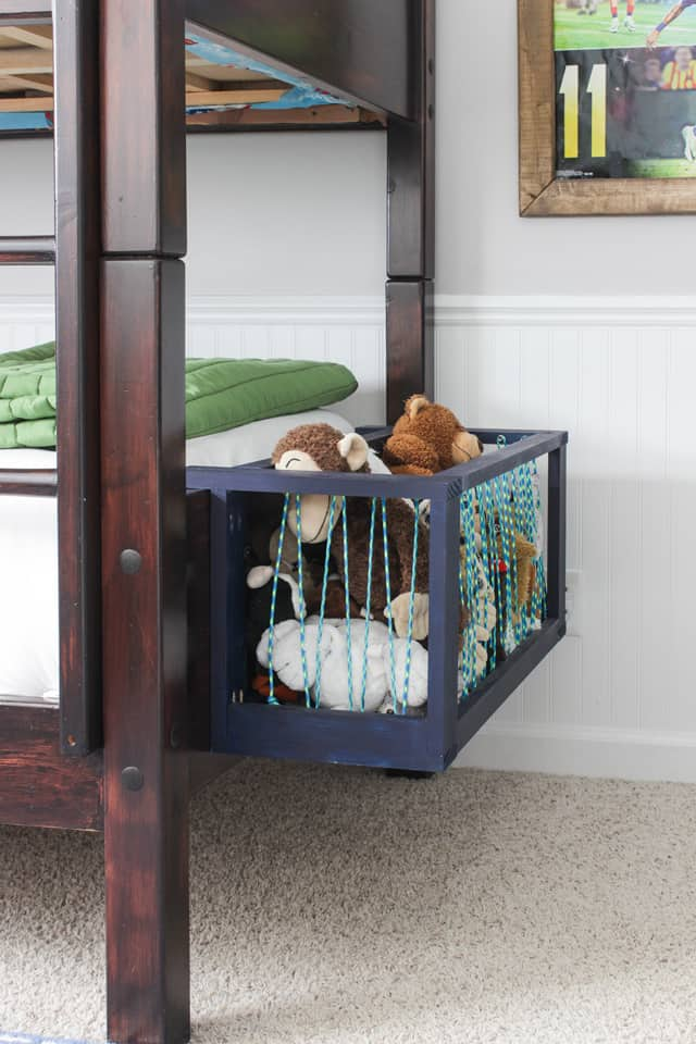 Side Bed Stuffed Animal Storage