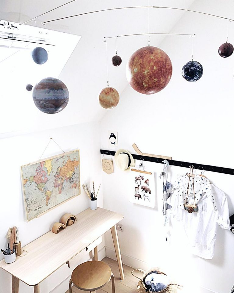 Simple And Minimalist Space Themed Bedroom