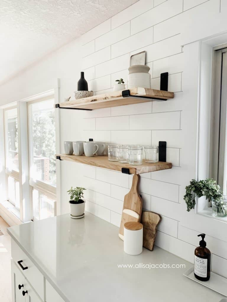 Simple Open Kitchen Shelving