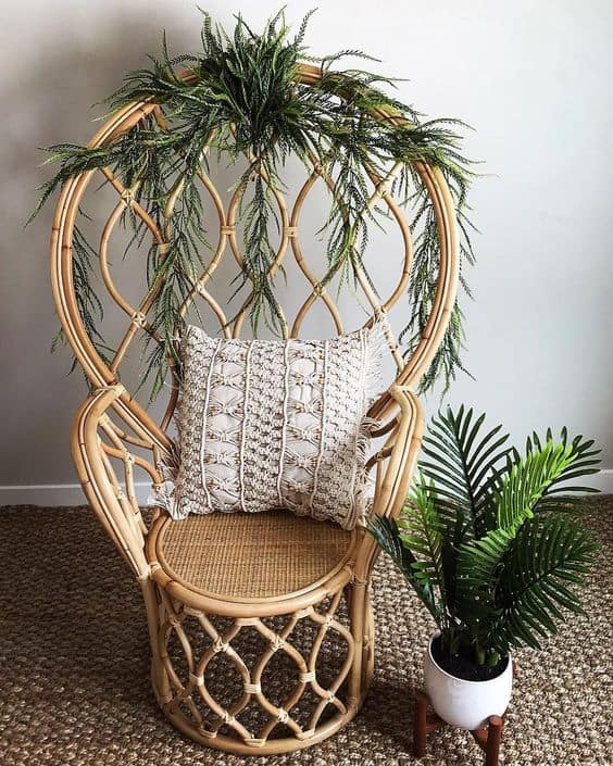 Simple Peacock Chair With Greenery