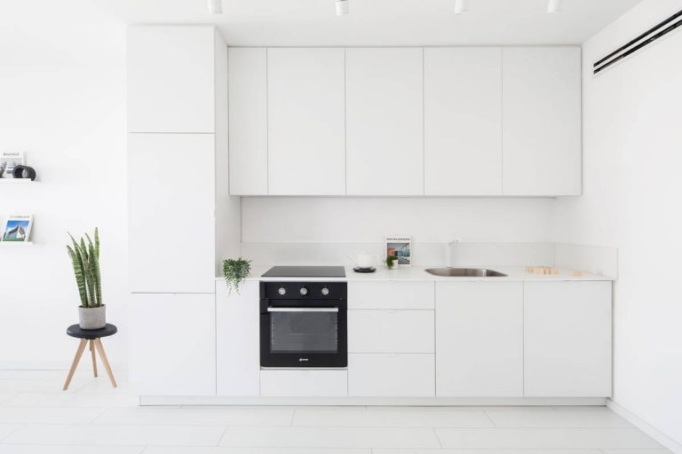 Simple White Kitchen with Indoor Plants