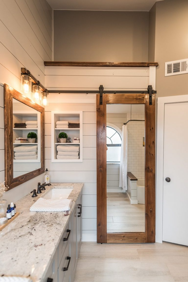Sliding Barn Door for Classic Master Bathroom