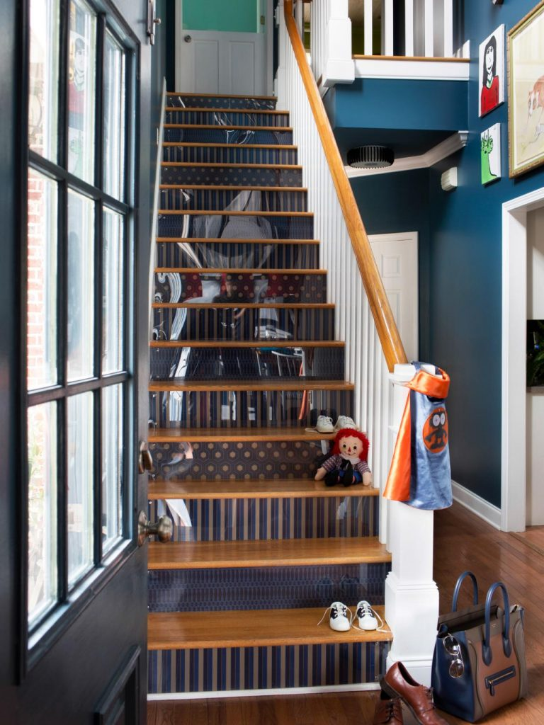 Painted Stairs Ideas - Smart Wallpaper for Stair Risers