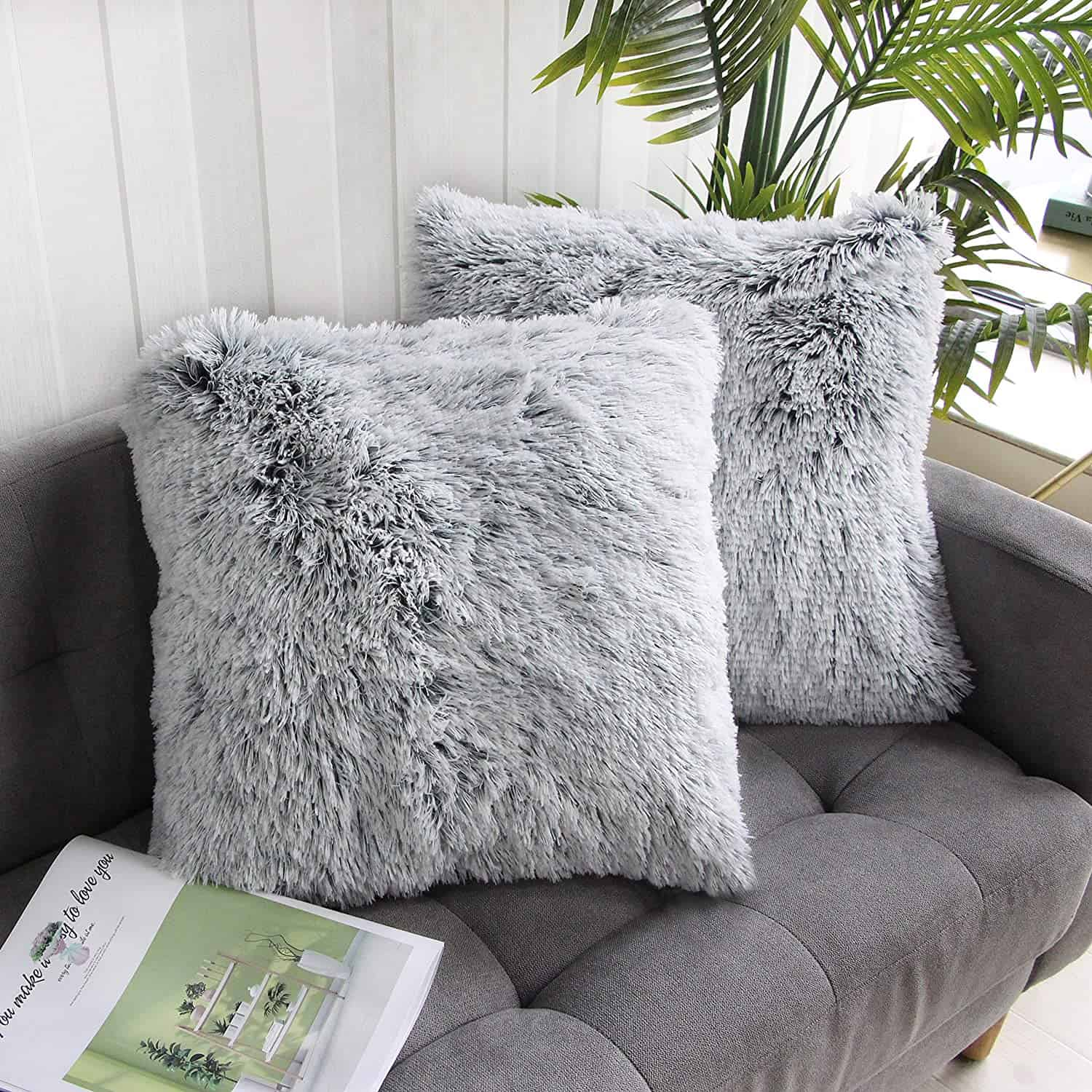 Soft Faux Fur Pillow Ideas For A Gray Couch