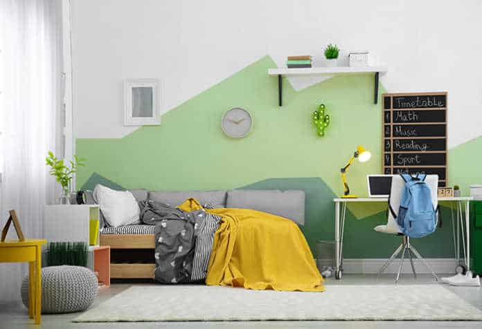 Soft Green Geometric Wall Paint