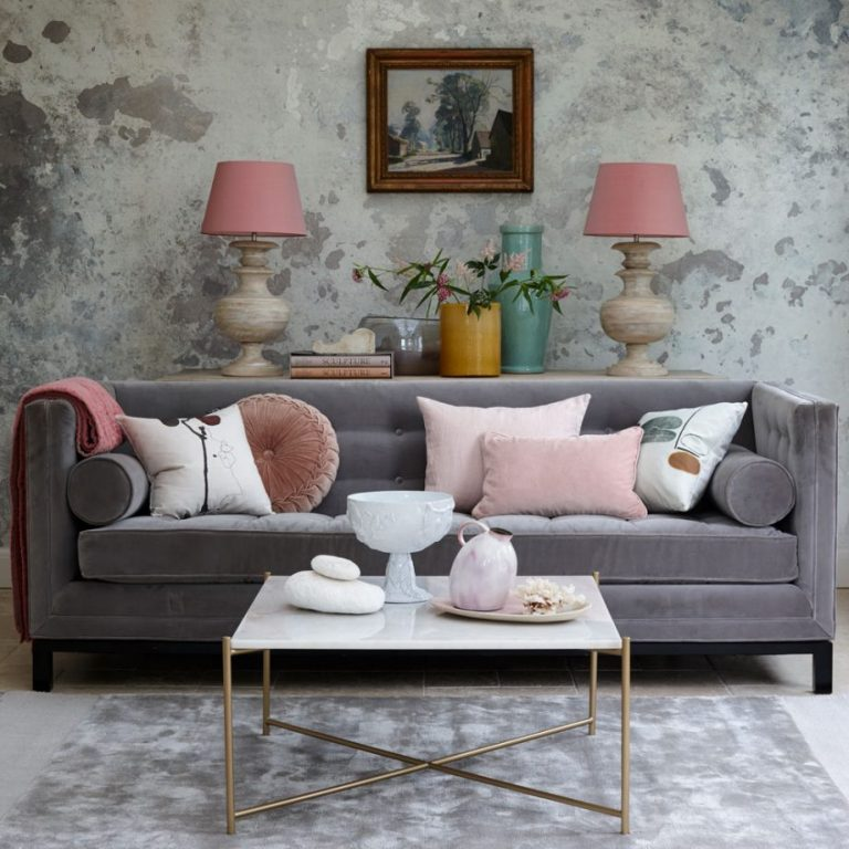 Soft Pink Pillow Ideas For A Gray Couch
