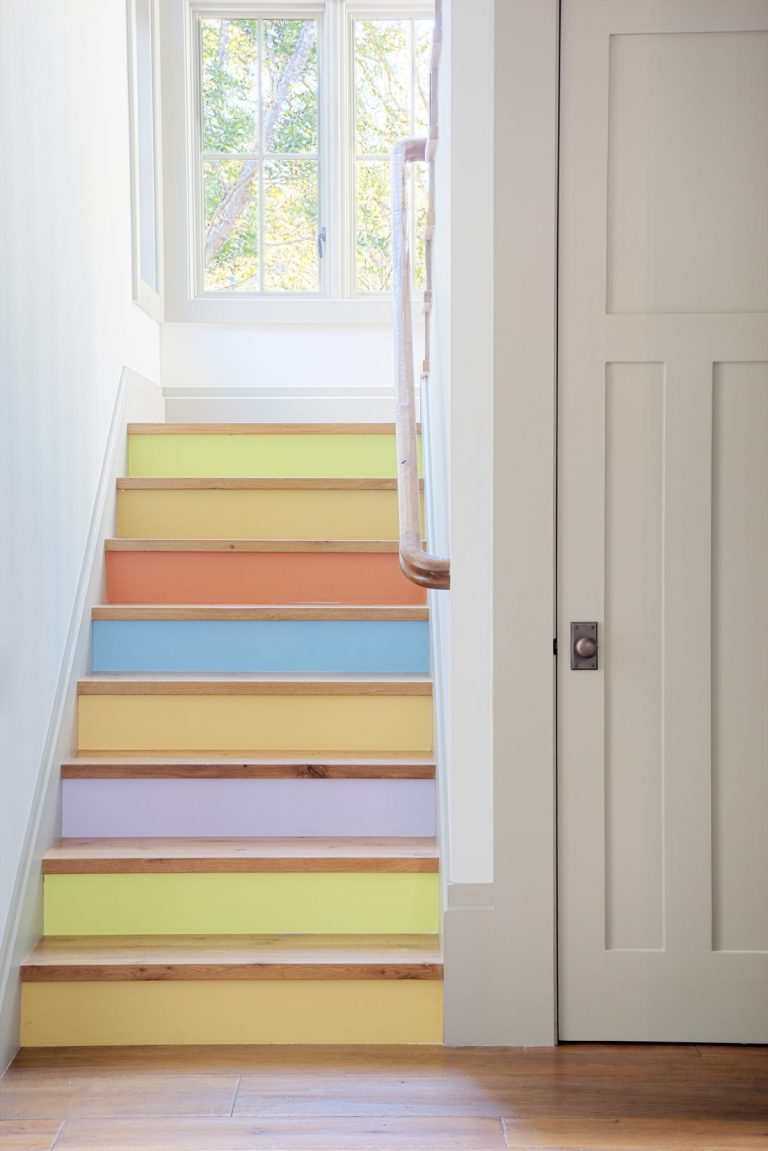 Painted Stairs Ideas - Cute Soft Rainbow Stairs