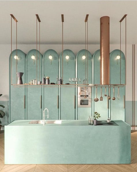 Sophisticated Green Kitchen Cabinet