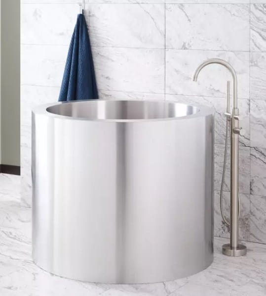 Sophisticated Bathroom with Stainless Steel Soaking Tub