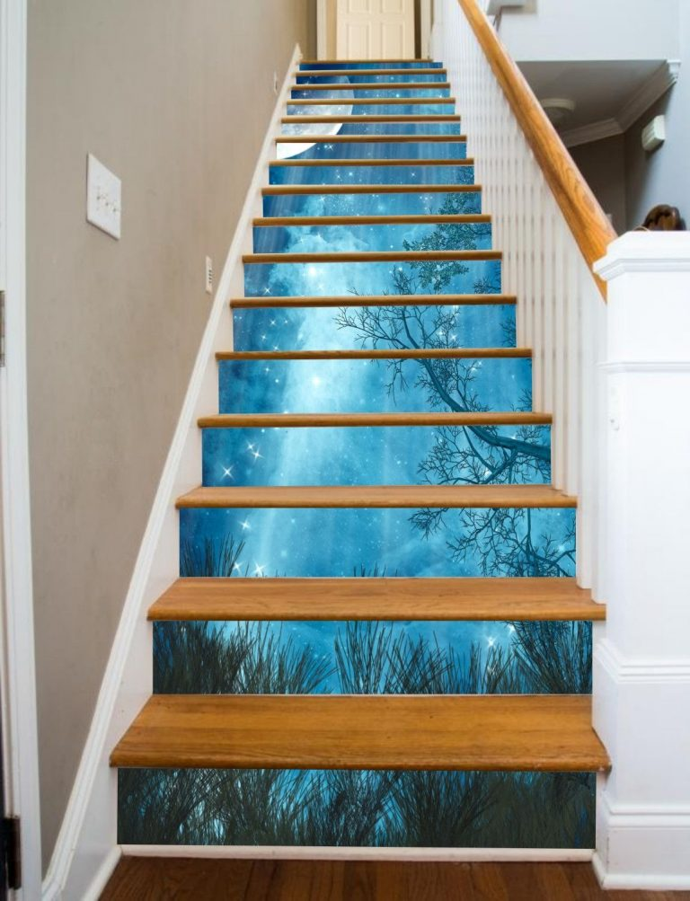 Painted Staircase Ideas - Stairs with Night Landscape Image
