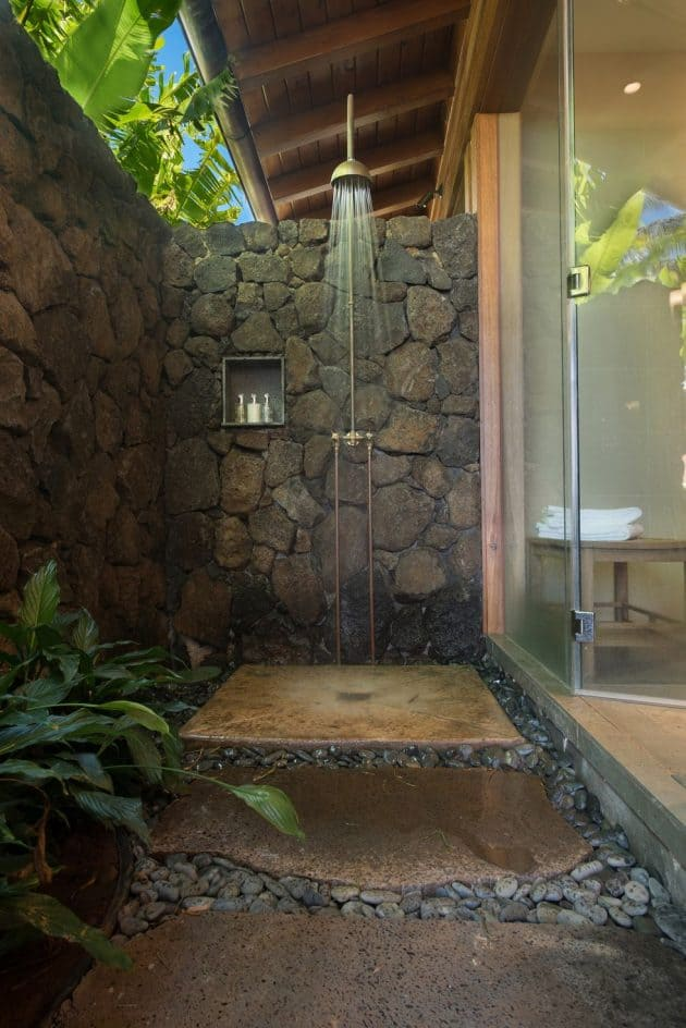 Stone Fence Outdoor Shower