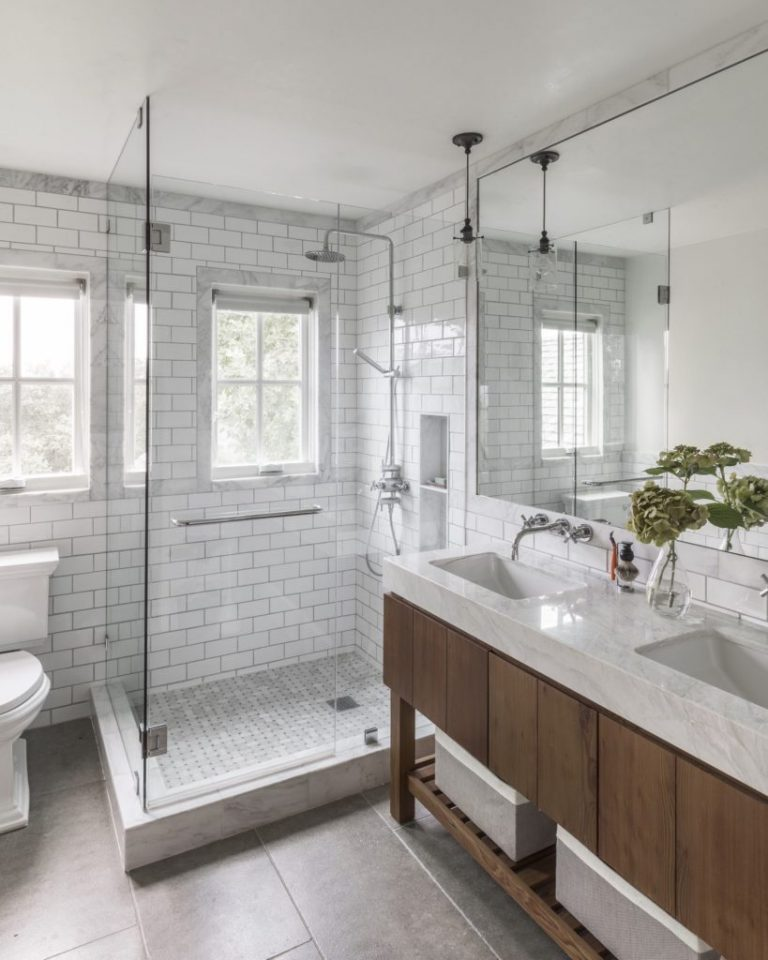 Stone and Woods Combination for the Best Walk-in Shower Ideas