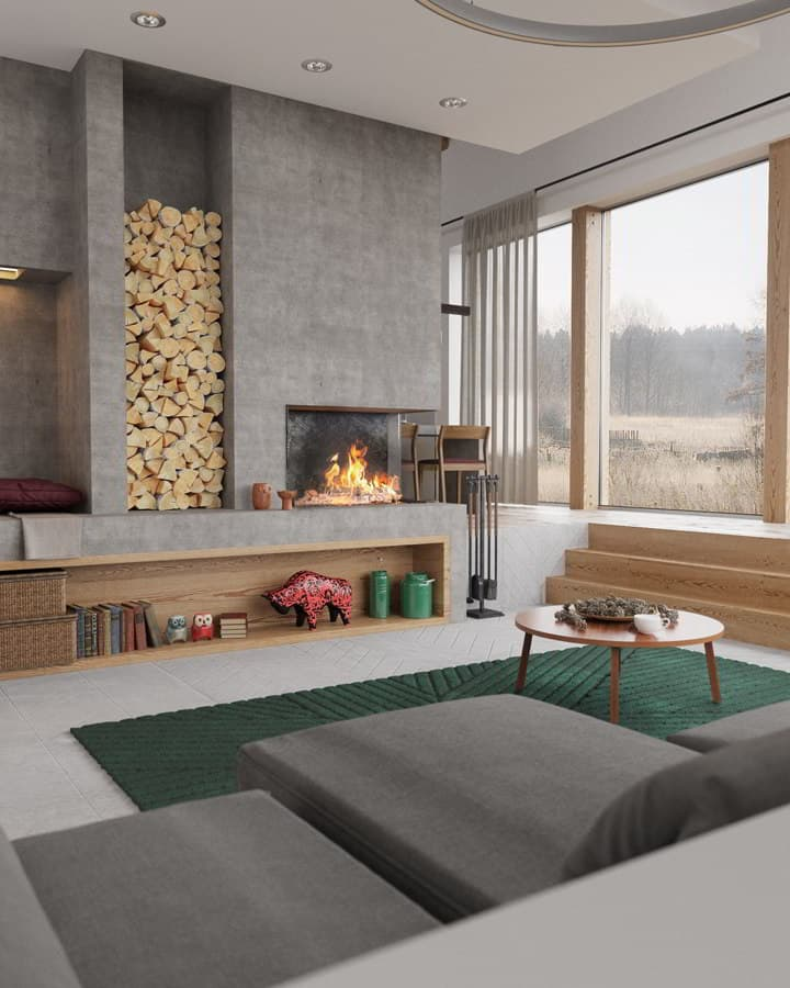 Sunken Living Rooms With Fireplace