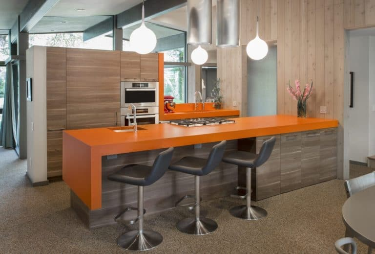 Sweet Orange Mid Century Modern Kitchen