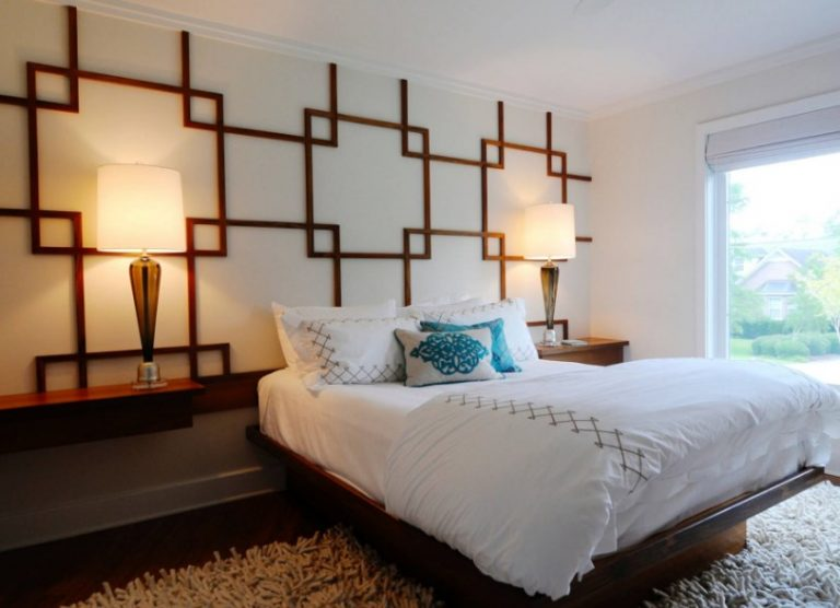 Teak Wall Pattern Art Deco Bedroom