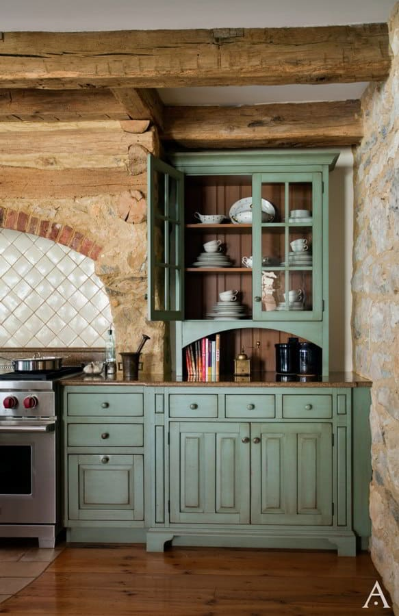 Teal Rustic Kitchen Cabinet