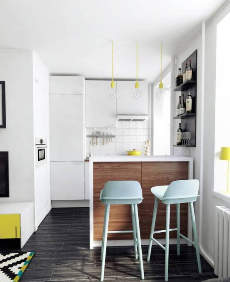 Tiny White Kitchen in Contemporary Style
