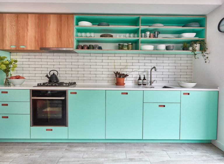 Turquoise Blue Kitchen Cabinet