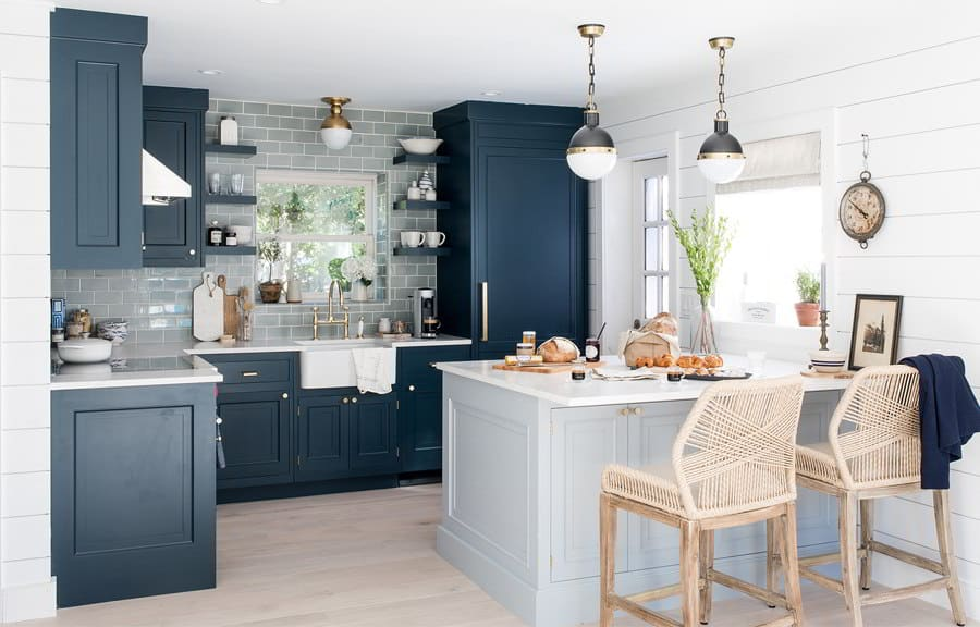 Two-Tone Blue Kitchen Cabinet