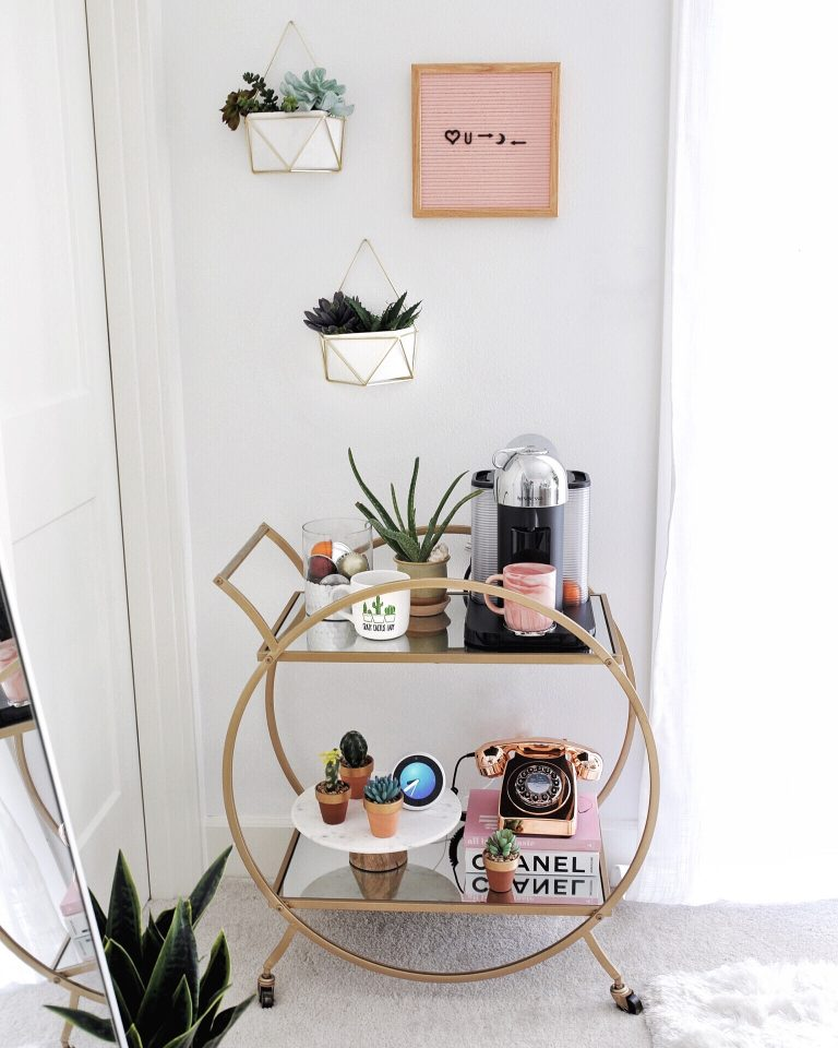 Stylish and Unique Coffee Bar Cart