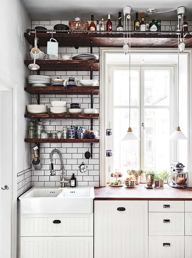 Vintage Open Kitchen Shelving
