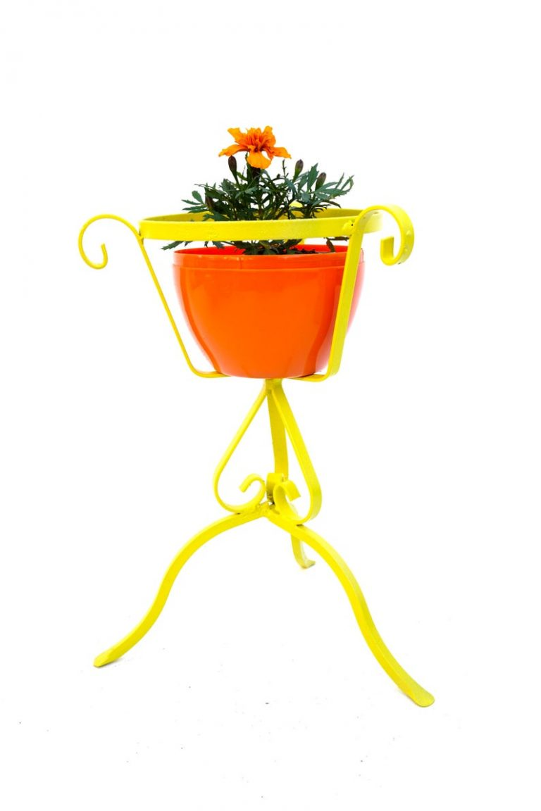 Vintage Yellow Plant Stand
