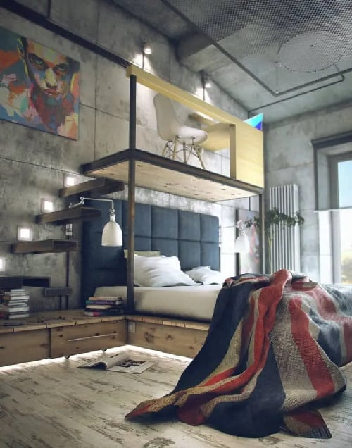 Warm Industrial Bed