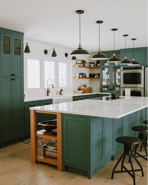 White And Green Kitchen Cabinet