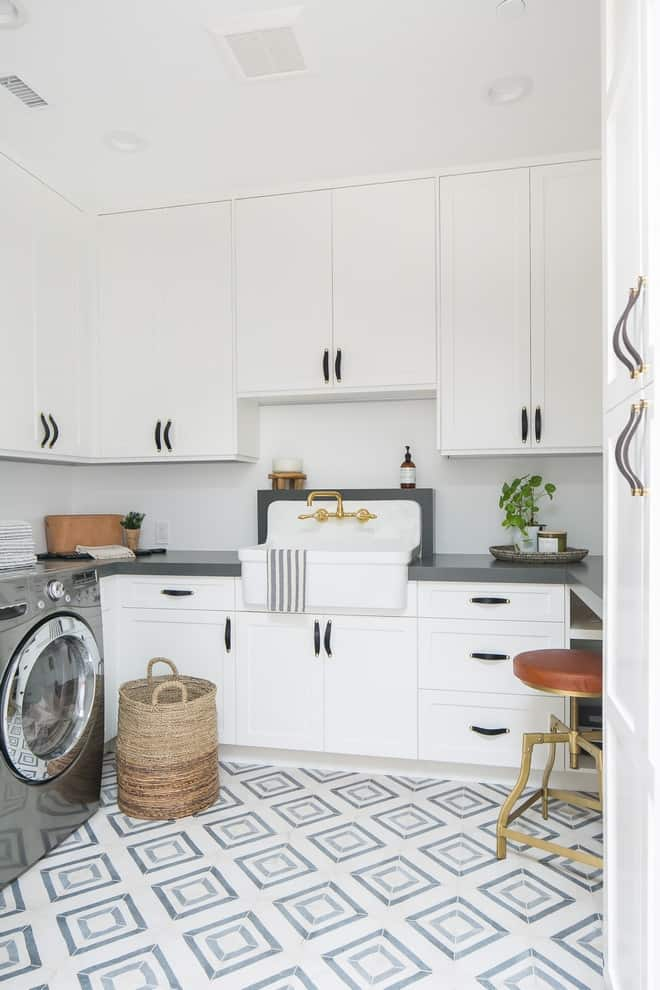 White And Grey Laundry Room Paint Colors