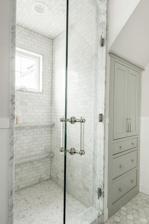 White Brick Modern Shower
