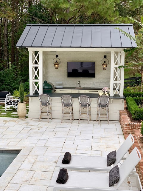 White Brick Pool Cabana Ideas