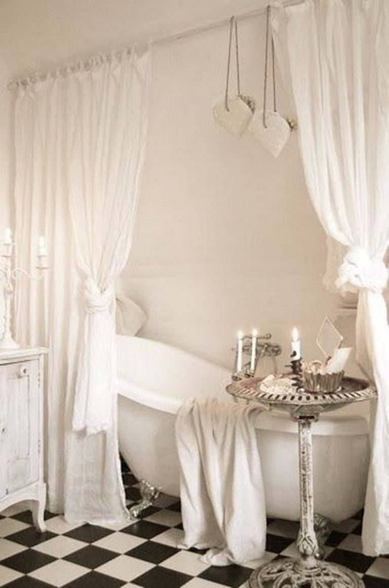 White Curtain Shabby Chic Bathroom