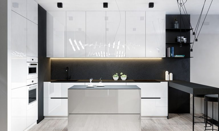 White Kitchen Cabinet with Black Countertop