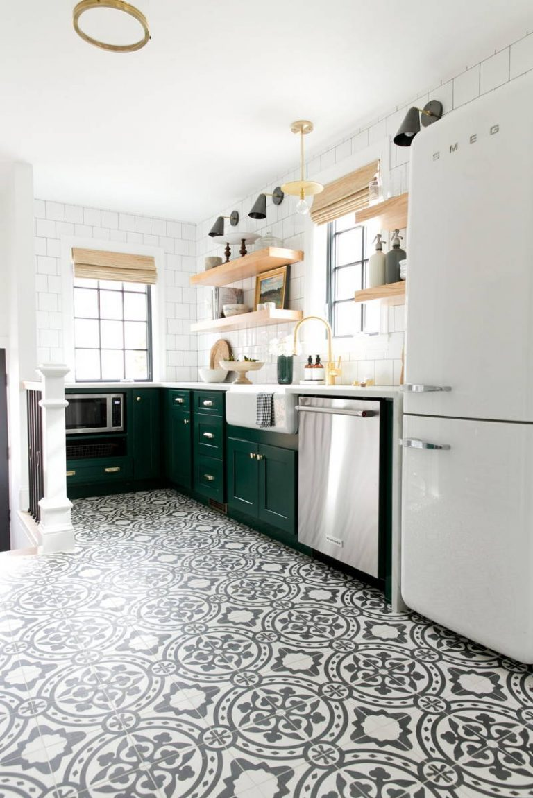 White Kitchen Designs with Patterned Tiles and Green Storage and Open Shelving Cabinets