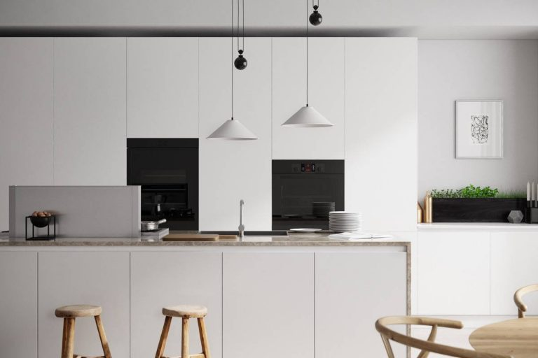 White Kitchen Designs with Pendant Light and Wooden Stools