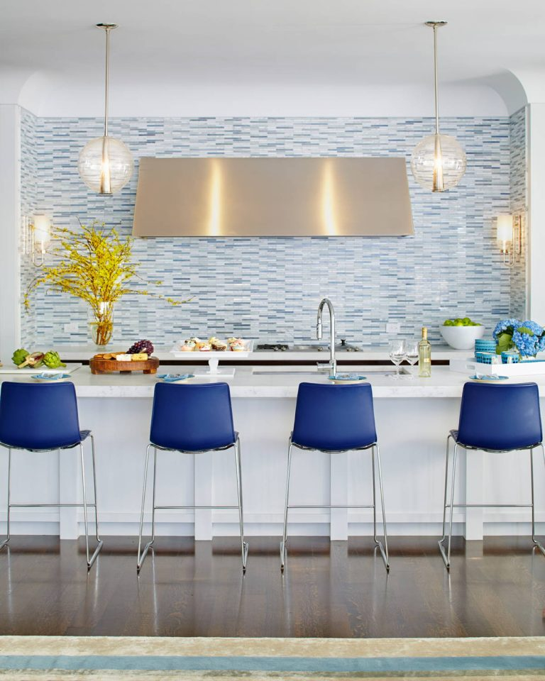 White Kitchen with Blue Chairs
