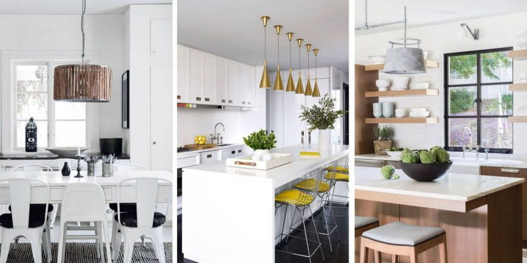 White Kitchen with Fancy Lights