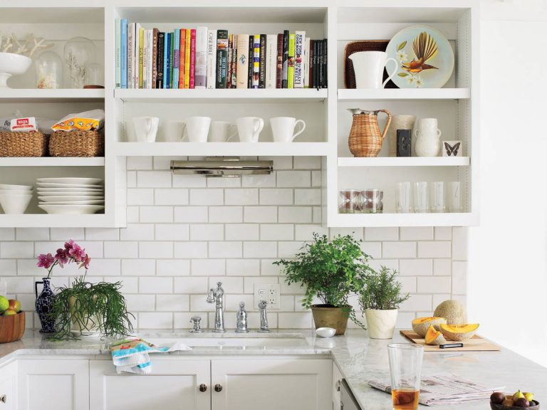 White Open Shelving Cabinets