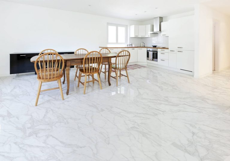 White Tile Kitchen Flooring
