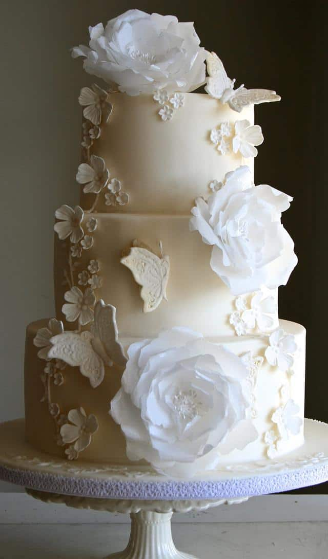 White Wedding Cake Butterfly Decorations