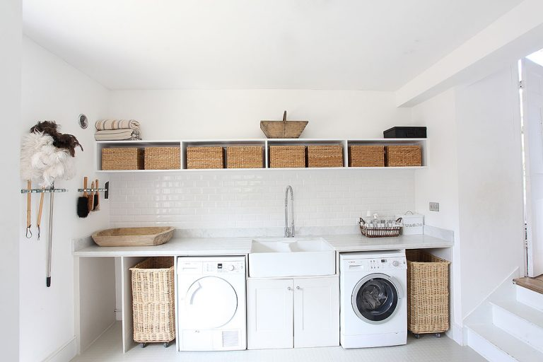 White and Natural Laundry Room