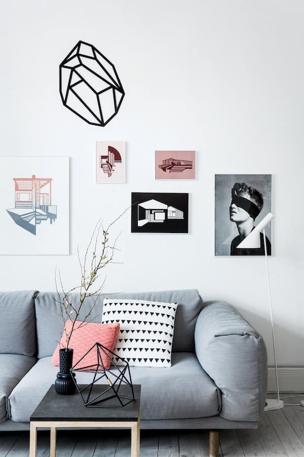 White and Pink Pillow Ideas For A Gray Couch