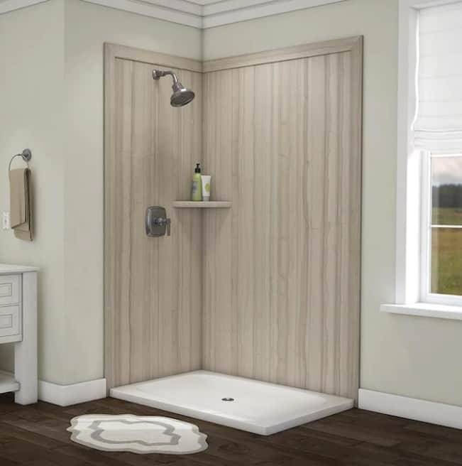 Wood Accent DIY Wall Shower Panels