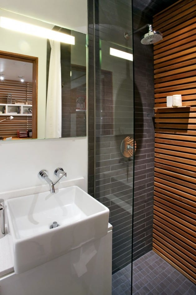 Wood And Stone Wall Modern Shower