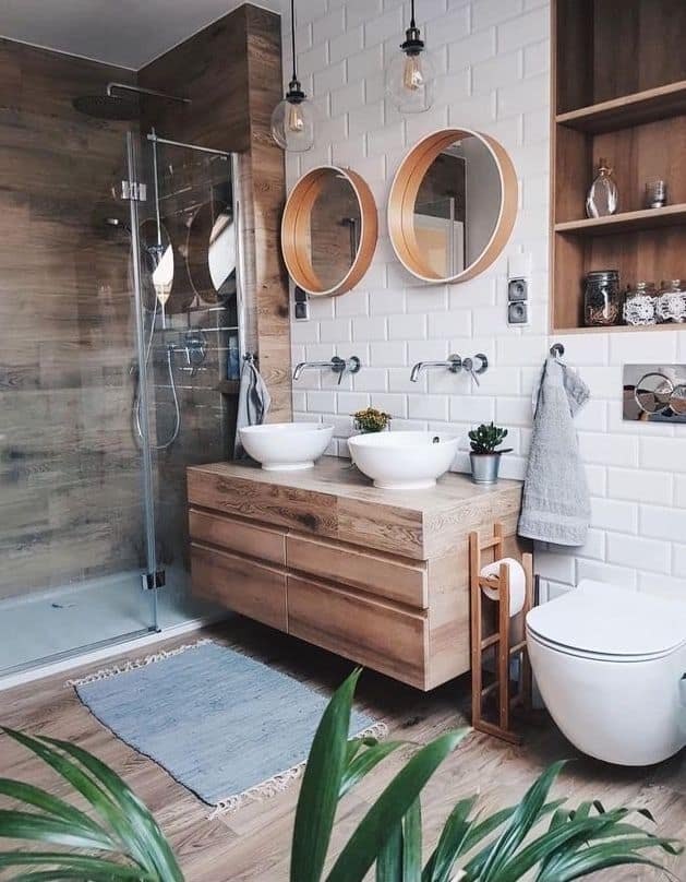 Wood Flooring Industrial Style Bathroom