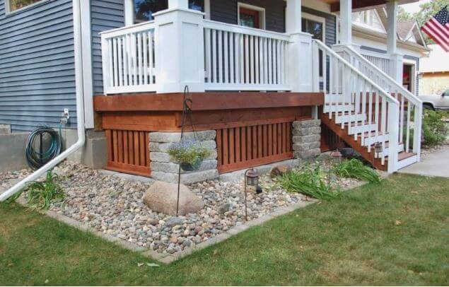 Wood and Stacked Stones Deck Skirting Ideas