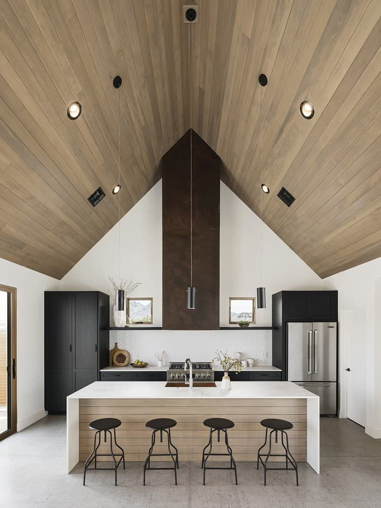 Wooden Ceiling Mid Century Modern Kitchen