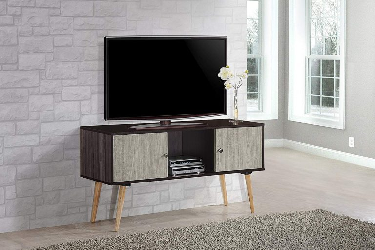 Retro Style TV Stand with Two Storage Doors, and Solid Wood Legs
